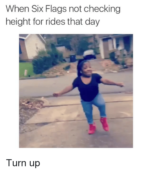 Funny, Memes, and Turn Up: When Six Flags not checking  height for rides that day Turn up