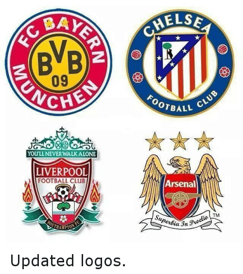 Logos: BAYN  BVB  YOULLNEVER WALK ALONE  LIVERPOOL  FOOTBALL CLUBn  HELSE  BALL  Arsenal  TM Updated logos.