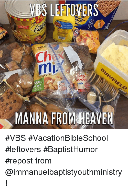 Heaven, Honey, I Shrunk the Kids, and Baptist Memes: VBS LEFTOVERS  Aged  HONEY  Ch  mi.  SS FAT  MANNA FROM HEAVEN VBS VacationBibleSchool leftovers BaptistHumor repost from @immanuelbaptistyouthministry!