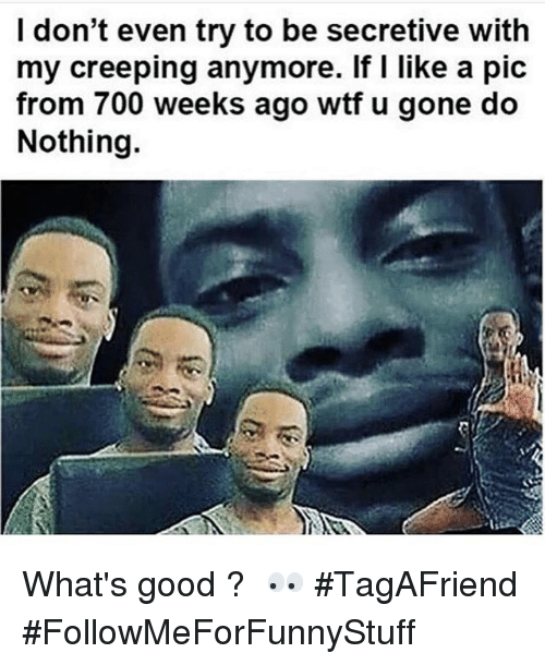 Funny: I don't even try to be secretive with  my creeping anymore. If I like a pic  from 700 weeks ago wtf u gone do  Nothing. What's good ? 🤔👀-TagAFriend-FollowMeForFunnyStuff