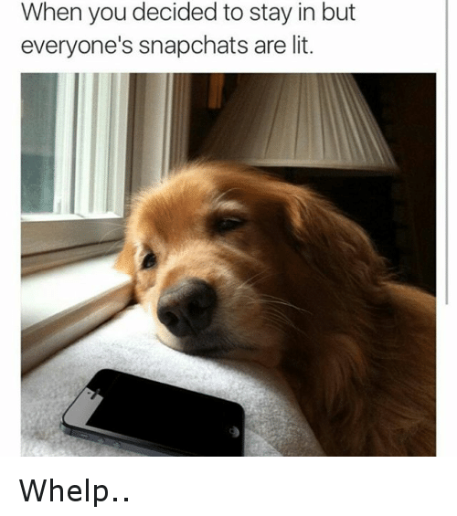 It's Lit, Lit, and Snapchat: When you decided to stay in but everyone's Snap-chats are lit. Whelp..