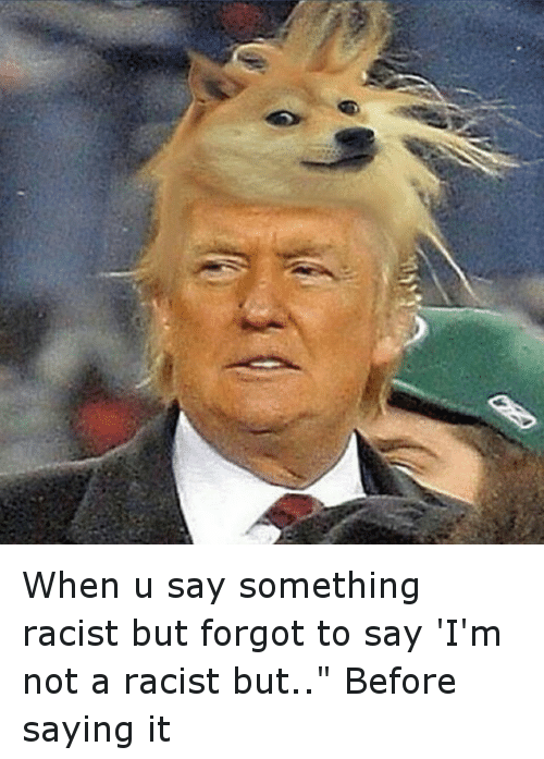 """Funny, Say It, and Racist: When u say something racist but forgot to say 'I'm not a racist but.."""" Before saying it"""