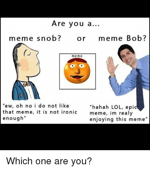 Instagram Which one are you 9f625f are you a meme snob? or meme bob? me me ew oh no i do not like