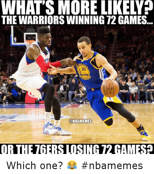 Philadelphia 76ers, Basketball, and Golden State Warriors: THE WARRIORS WINNING 72 GAMES OR THE 76ERS LOSING 72 GAMES Which one? 😂 nbamemes