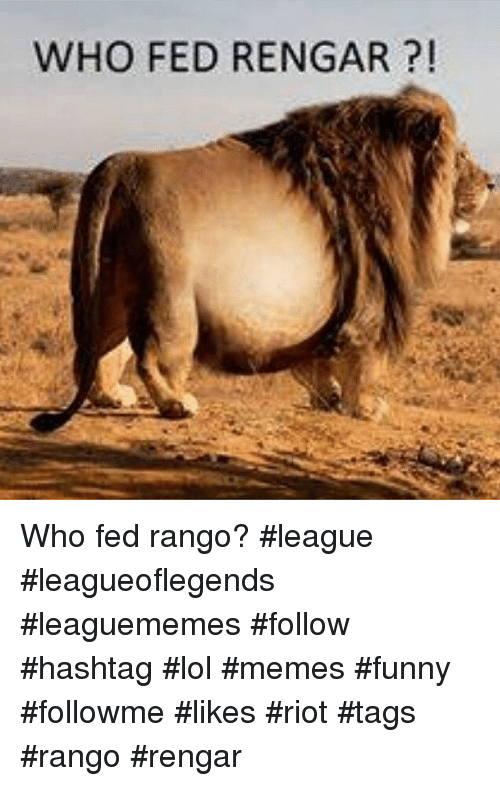 Funny, League of Legends, and Lol: WHO FED RENGAR Who fed rango? league leagueoflegends leaguememes follow hashtag lol memes funny followme likes riot tags rango rengar