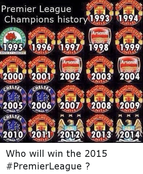 Premier league champions history 1993 1994 ches 19957 1996 for Epl table 1998 99