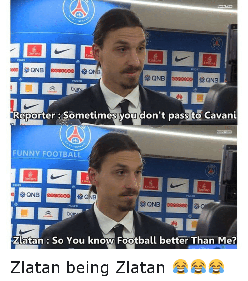 Funny, Soccer, and Sports: Emirates  QNB ooooooo QNB  Reporter: Sometimes you don't pass to Cavani  FUNNY FOOTBALL  Emirate  QNB  QNB ooooooo  Zlatan So You know Football better Than Me? Zlatan being Zlatan 😂😂😂
