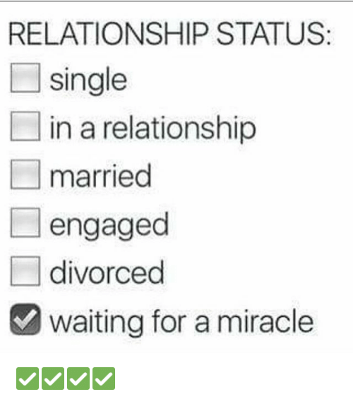 Relationships: RELATIONSHIP STATUS  single  in a relationship  married  engaged  divorced  waiting for a miracle ✅✅✅✅