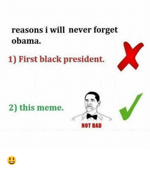Bad, Meme, and Memes: reasons i will never forget  obama.  1) First black president.  2) this meme.  NOT BAD 😃
