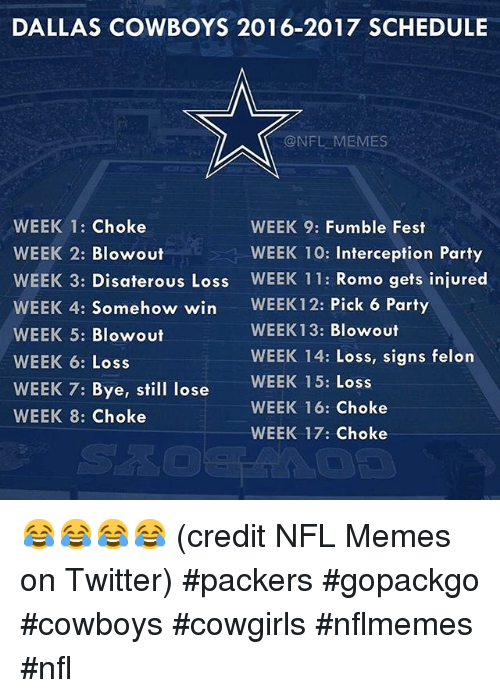 credit NFL Memes on Twitter) #packers #gopackgo #cowboys #cowgirls # ...