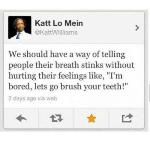 "Bored, Girl Memes, and Teeth: Katt Lo Mein  @KattWilliams  We should have a way of telling  people their breath stinks without  hurting their feelings like, ""I'm  bored, lets go brush your teeth!""  2 days ago via web"