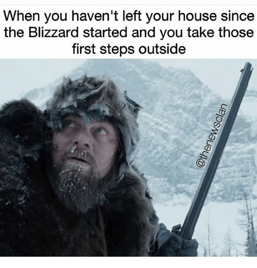 Blizzard, House, and Girl Memes: When you haven't left your house since  the Blizzard started and you take those  first steps outside