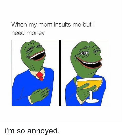 i need money: When my mom insults me but I  need money i'm so annoyed.