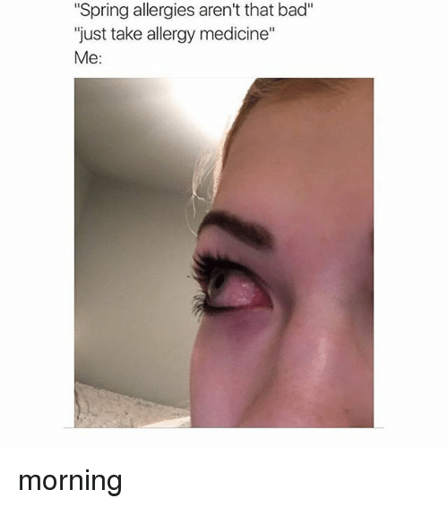 "Bad, Spring, and Girl Memes: ""Spring allergies aren't that bad""  just take allergy medicine  Me morning"