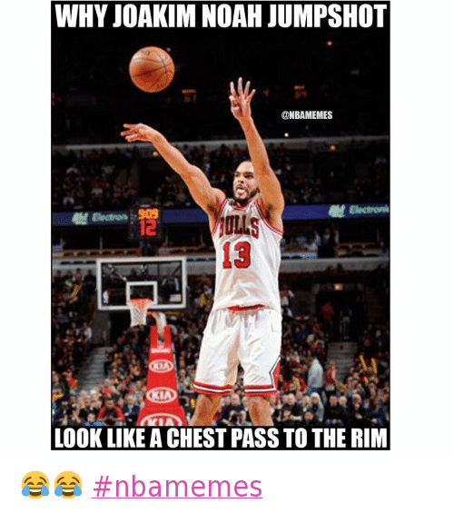 Basketball, Chicago Bulls, and Joakim Noah: Why Joakim Noah jumpshot look like a chest pass to the rim 😂😂 nbamemes