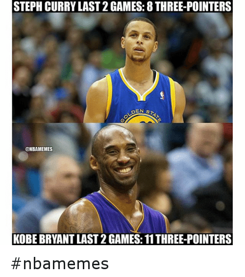 Basketball, Kobe Bryant, and Nba: STEPH CURRY LAST2GAMES: 8 THREE-POINTERS  DEN s  @NBAMEMES  KOBE BRYANT LAST 2 GAMES: 11THREE-POINTERS nbamemes