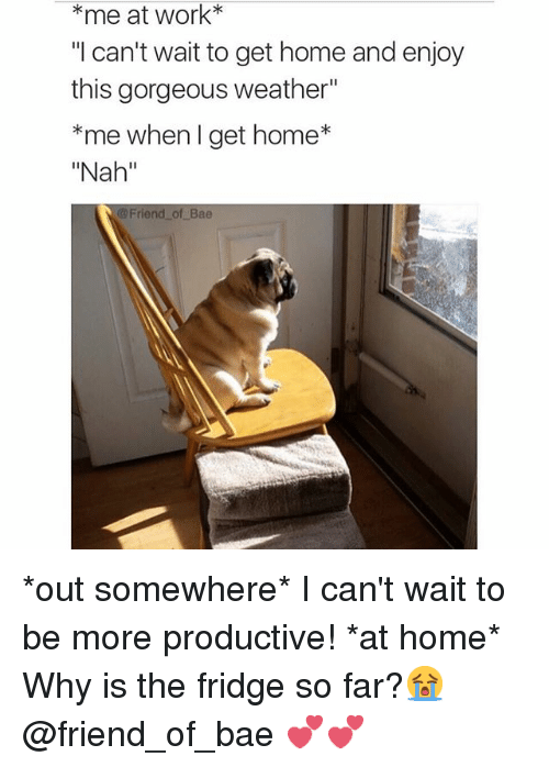 """Girl Memes: *me at work  """"I can't wait to get home and enjoy  this gorgeous weather""""  *me when get home  """"Nah""""  Friend of Bae *out somewhere*-I can't wait to be more productive! *at home*-Why is the fridge so far?😭 @friend_of_bae 💕💕"""