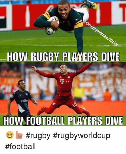 HOW RUGBY PLAYERS DIVE HOW FOOTBALL PLAYERS DIVE 😆👍🏼 Rugby ... A Cup Vs C Cup