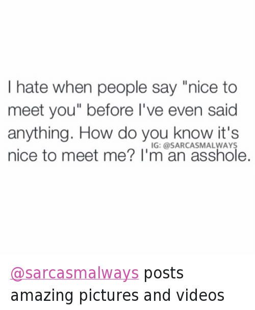 i hate when people say nice to meet you
