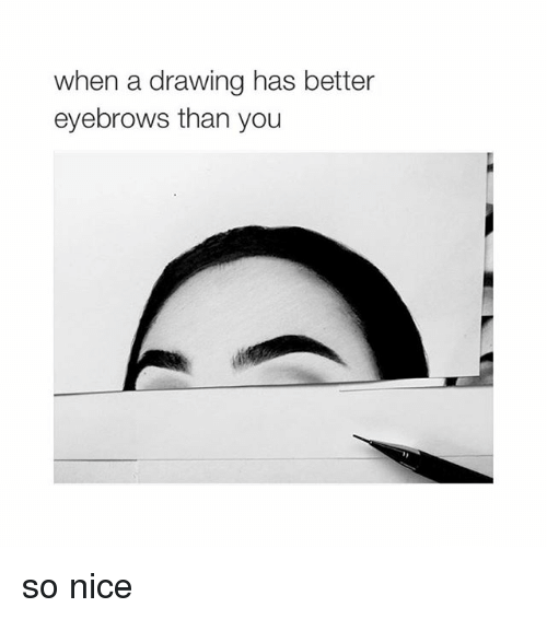 Girl Memes: when a drawing has better  eyebrows than you so nice