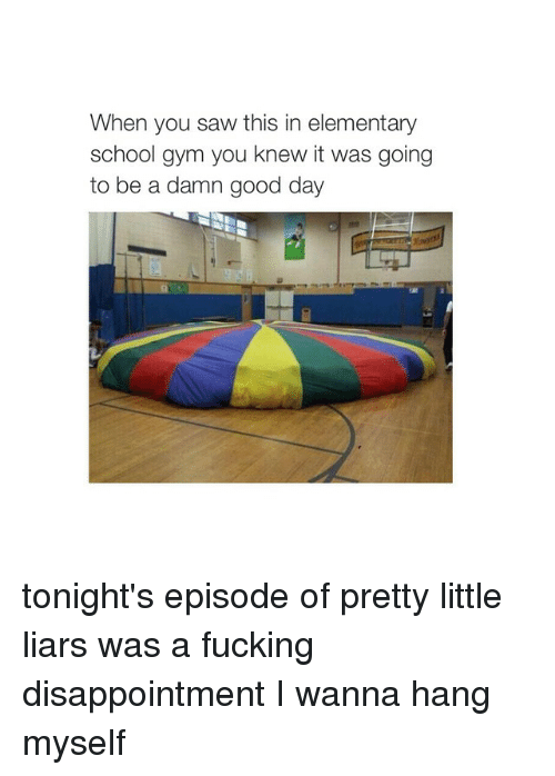 Girl Memes: When you saw this in elementary  school gym you knew it was going  to be a damn good day tonight's episode of pretty little liars was a fucking disappointment I wanna hang myself