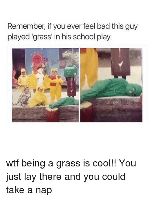 School: Remember, if you ever feel badthis guy  played grass' in his school play. wtf being a grass is cool!! You just lay there and you could take a nap 🙄