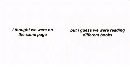 Were On The Same Page: but i guess we were reading  different books   i thought we were on  the same page