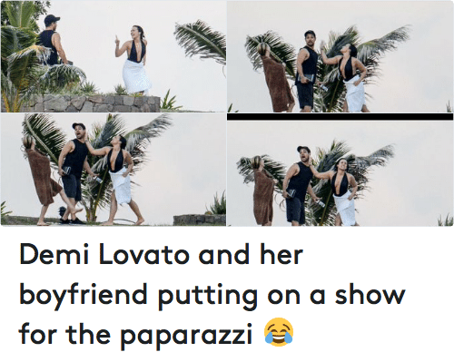Demi Lovato, Funny, and Boyfriend: Demi Lovato and her boyfriend putting on a show for the paparazzi 😂