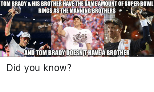 super bowl rings: TOM BRADY & HIS BROTHER HAVE THE SAME AMOUNT OF SUPER BOWL RINGS AS THE MANNING BROTHERS AND TOM BRADY DOESN'T HAVE A BROTHER Did you know?
