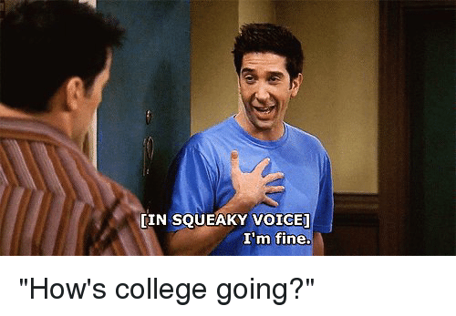 "College, Voice, and Girl Memes: LIN SQUEAKY VOICE]  I'm fine. ""How's college going?"""