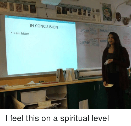 Girl Memes: IN CONCLUSION  i am bitter I feel this on a spiritual level