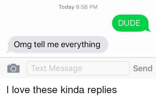 Dude, Funny, and Love: Today 6:56 PM  Omg tell me everything  O Text Message  DUDE  Send I love these kinda replies