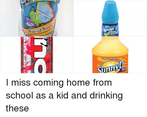 School: SERT TRAW HER  APRISUN  Drin  Tropical Punch Flavored luice   UIT PUNC  R  地LUM MALT's'«VERAGE wsTH AET FieiAL PLAvo  ONTAt   SOFT DRINK  Berry  Blue   Tangy original  sunny I miss coming home from school as a kid and drinking these