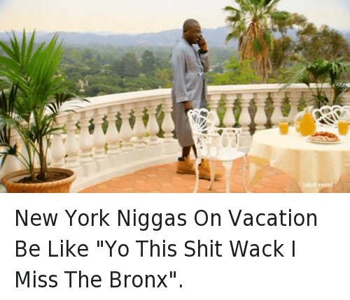 "Be Like, New York, and Shit: New York Niggas On Vacation Be Like ""Yo This Shit Wack I Miss The Bronx""."