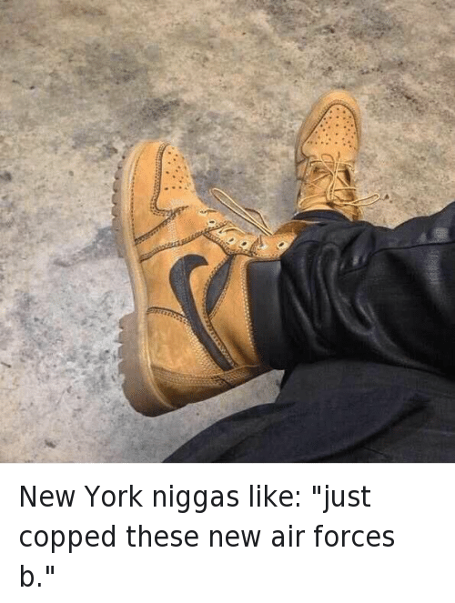 "Air Jordan, Fake, and New York: New York niggas like: ""just copped these new air forces b."""