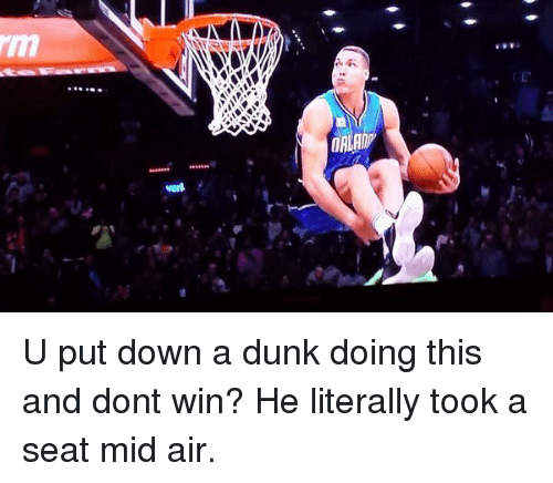 NBA: U put down a dunk doing this and dont win? He literally took a seat mid air.