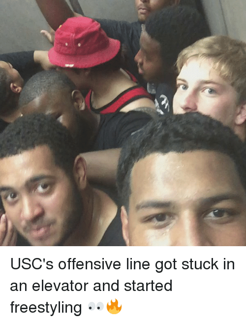 USC: USC's offensive line got stuck in an elevator and started freestyling 👀🔥