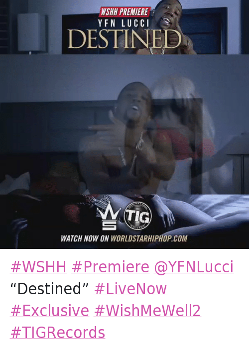 "Funny, Worldstarhiphop, and Wshh: WSHH PREMIERE  Y FN LUCCI  DESTINED  TIG  WATCH NO WON WORLDSTARHIPHOP COM WSHH Premiere @YFNLucci ""Destined"" LiveNow Exclusive WishMeWell2 TIGRecords"