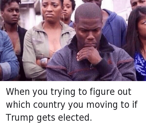 Donald Trump, Kevin Hart, and Mfw: When you trying to figure Out which Country you moving to if Trump gets elected. When you trying to figure out which country you moving to if Trump gets elected.