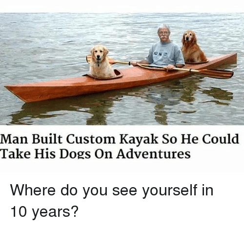 Dogs: Man Built Custom Kayak So He Could  Take His Dogs on Adventures Where do you see yourself in 10 years?