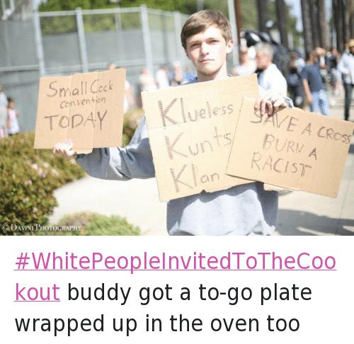 Food, Kkk, and Ups: WhitePeopleInvitedToTheCookout buddy got a to-go plate wrapped up in the oven too