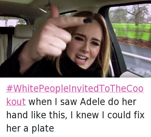 Adele, Blackpeopletwitter, and Food: WhitePeopleInvitedToTheCookout when I saw Adele do her hand like this, I knew I could fix her a plate