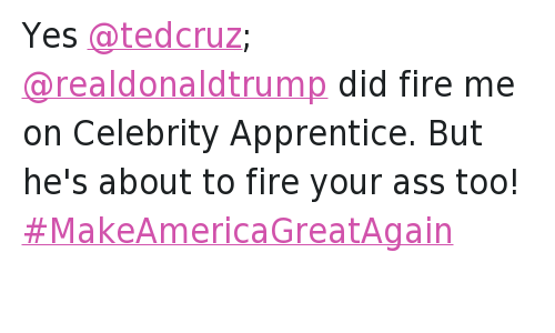 Republican Presidential primary: @dennisrodman   Yes @tedcruz; @realdonaldtrump did fire me on Celebrity Apprentice. But he's about to fire your ass too! Yes @tedcruz; @realdonaldtrump did fire me on Celebrity Apprentice. But he's about to fire your ass too! MakeAmericaGreatAgain
