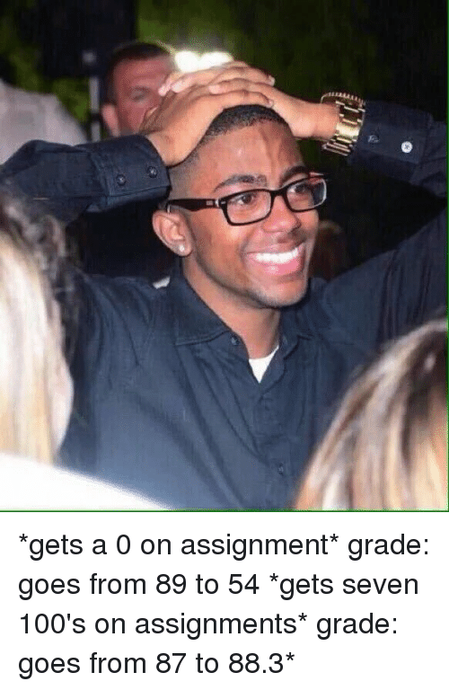 Girl Memes: 덟  mrrrg *gets a 0 on assignment* grade: goes from 89 to 54 *gets seven 100's on assignments* grade: goes from 87 to 88.3*