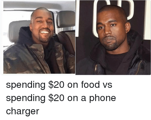 Food, Phone, and Chargers: spending $20 on food vs spending $20 on a phone charger