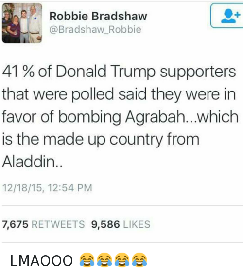 Agrabah: @hoodshiet  @Bradshaw Robbie  41% of Donald Trump supporters that were polled said they were in favor of bombing Agrabah...which is the made up country from Aladdin. LMAOOO 😂😂😂😂