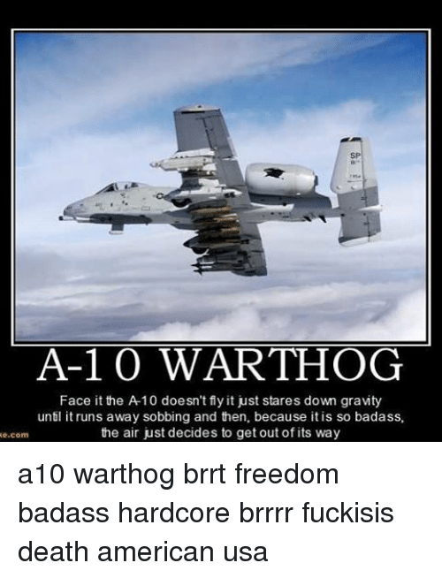 brrrr: A-1 0 WART-HOG  Face it the A 10 doesn't fly it just stares down gravity  until it runs away sobbing and then, because itis so badass,  the air just decides to get out of its way  com a10 warthog brrt freedom badass hardcore brrrr fuckisis death american usa