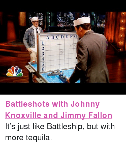 """Battleshots: A.  123456 <p><strong><a href=""""http://youtu.be/zHiWiTBac4c"""" target=""""_blank"""">Battleshots with Johnny Knoxville and Jimmy Fallon</a><br/></strong></p> <p>It&rsquo;s just like Battleship, but with more tequila.</p>"""