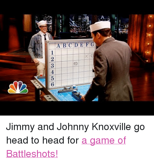 """Battleshots: A.  123456 <p>Jimmy and Johnny Knoxville go head to head for <a href=""""http://www.youtube.com/watch?v=zHiWiTBac4c"""" target=""""_blank"""">a game of Battleshots!</a></p>"""
