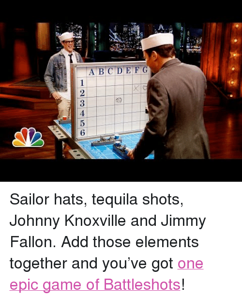"""Battleshots: A.  123456 <p>Sailor hats, tequila shots, Johnny Knoxville and Jimmy Fallon. Add those elements together and you&rsquo;ve got <a href=""""http://www.youtube.com/watch?v=zHiWiTBac4c"""" target=""""_blank"""">one epic game of Battleshots</a>!</p>"""